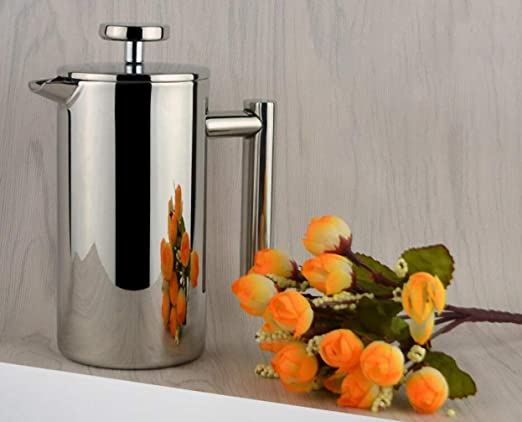 Cafetera de vacío de acero inoxidable, cafetera con aislamiento térmico, cafetera de prensa francesa de diseño especial de alta calidad, 3 tazas 350 ml: Amazon.es: Hogar