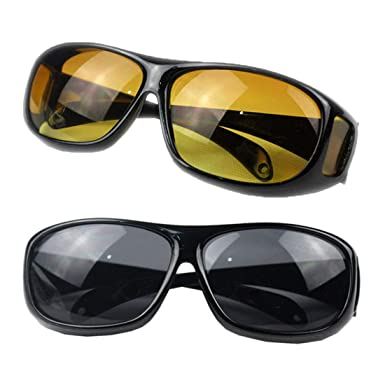 1e8ec1ab6c Amazon.com  HD Night or Day Vision Wraparound Sunglasses As Seen on TV Fits  over Glasses  Clothing