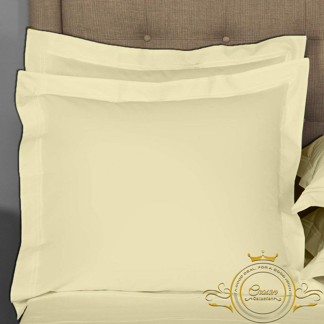 Crown Collection Ivory Solid European Square Pillow Shams Set of 2 pc - Hypoallergenic 600-TC 100% Egyptian Cotton Decorative Cushion Cover Euro Pillow Sham (Ivory, Euro 26'' x 26'')