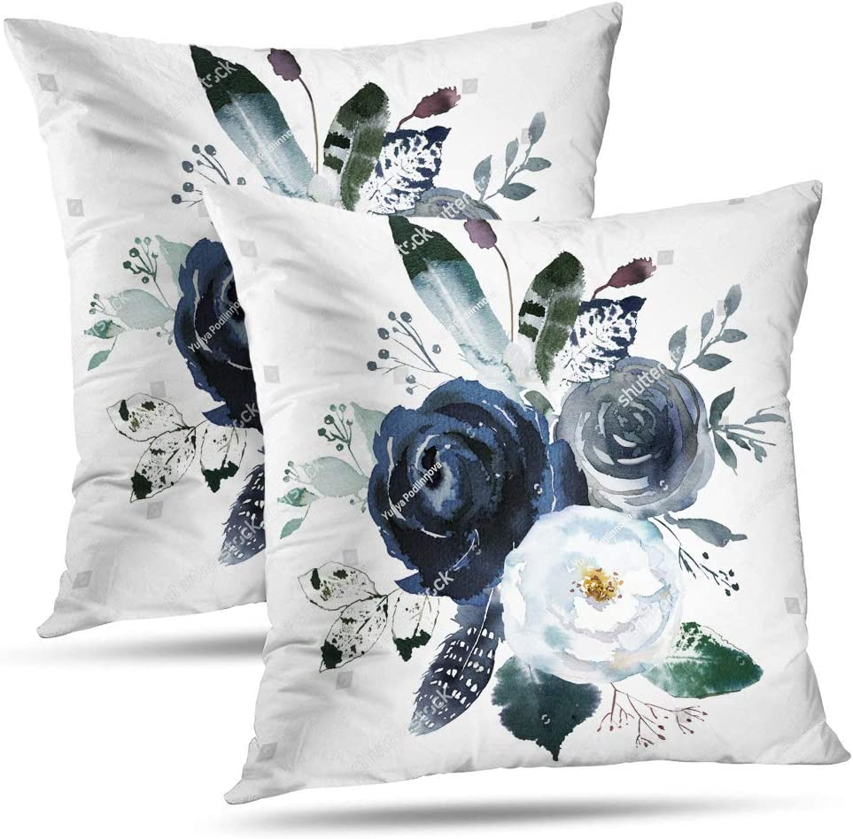 GALMAXS7 Floral Throw Pillow Covers Farmhouse Decorative Velvet Pillow Covers Navy Watercolor Flowers Pillowcase Boho Roses Blue White Square Cushion Covers Sofa Bed Décor 18X18 inch Set of 2