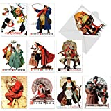 M6059 Rockwell Holidays: 10 Assorted Christmas Note Cards Featuring Vintage Artwork By The Well-Known American Artist Norman Rockwell, w/White Envelopes.