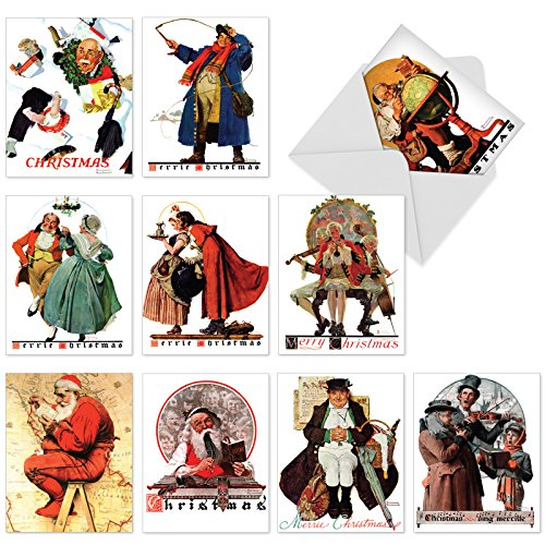 10 Assorted 'Rockwell Holidays' Note Cards with Envelopes (4 x 5.12 Inch), Blank Greeting Cards Featuring Iconic Christmas Paintings by Famous Saturday Evening Post Artist Norman Rockwell M6036 ()