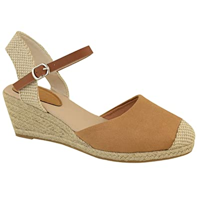 14505f3318a Fashion Thirsty Heelberry® Womens Ladies Low Heel Wedge Espadrilles Summer  Sandals Casual Holiday Size New