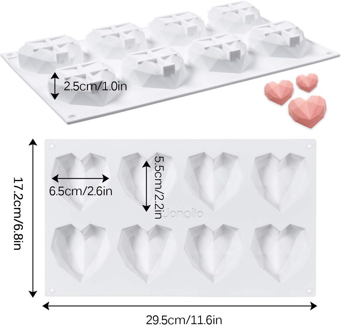 Schokolade Janolia Schokoladenformen Cupcake Herzform 8 Gitter Silikon 3D Diamant S/ü/ßigkeits-Formen-Beh/älter f/ür Kuchen verzieren S/ü/ßigkeiten machen Backen 29.5 * 17.2 * 2.5 cm