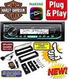 Plug -And -Play for/fits Harley Touring 1998-2013 JVC Marine Radio Stereo Pre Installed and Programmed