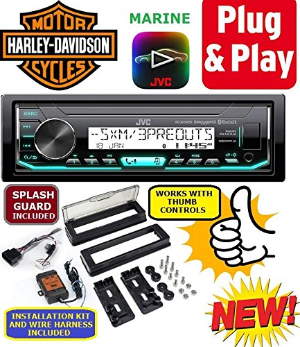 Plug -And -Play for/fits Harley Touring 1998-2013 JVC Marine Radio Stereo Pre Installed and Programmed ()