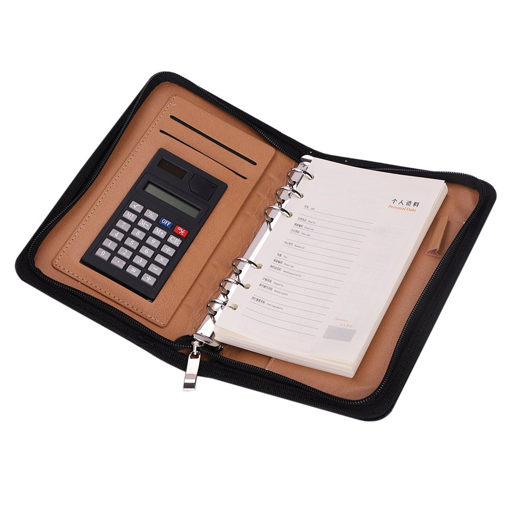 A6 Business Zippered Closure Portfolio Notebook 6 Ring Paper Padfolio Conference Writing Pad Organizer Card Holder Calculator and Pen Holder