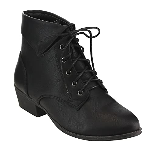 576e932bdb28f Top Moda EC89 Women's Foldover Lace Up Low Chunky Heel Ankle Booties
