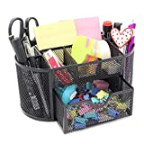 Black Caddy Office School Supplies Desktop Organizer - Elegant Black Mesh Wire Design - Features 8 Space Saving Compartments and One Large Slide Drawer. By Mega Stationers
