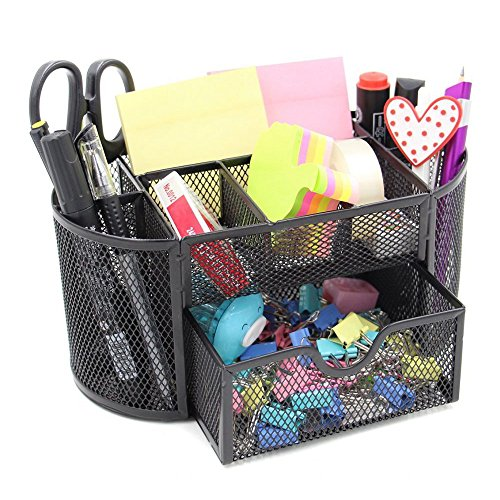 Black Caddy Office School Supplies Desktop Organizer - Elegant Black Mesh Wire Design - Features 8 Space Saving Compartments and One Large Slide Drawer. By Mega Stationers price