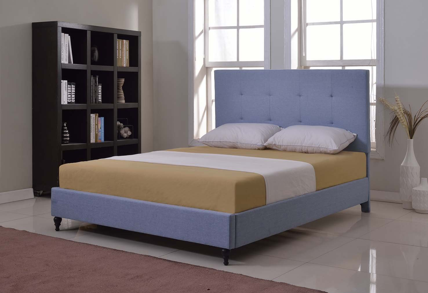 Home Life Cloth Light Blue Linen 47'' Tall Headboard Platform Bed with Slats Queen - Complete Bed 5 Year Warranty Included