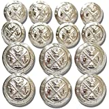 SILVER ~GOLF KING'S CREST~ [14-Piece DOUBLE BREASTED] PREMIUM Designer Grade METAL FASHION BUTTON SET ~ METALBLAZERBUTTONS.COM