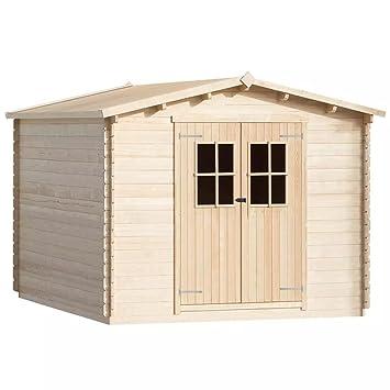Festnight 34 mm 4 x 3 m madera Jardín Casa Caseta Cobertizo de almacenamiento de madera LOG CABIN: Amazon.es: Hogar