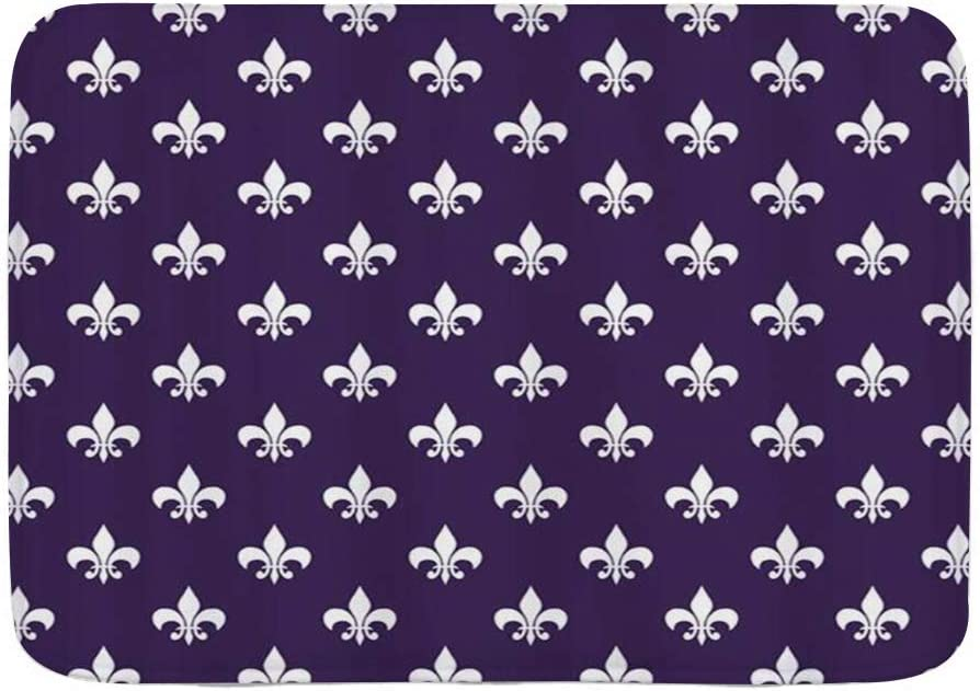 "KGSPK Door Mats,Dark Purple Fleur De Lis,Kitchen Floor Bath Rug Mat Absorbent Indoor Bathroom Decor Doormat Non Slip 29.5"" X 17.5"""