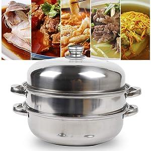 2 Tier Stainless Steel Steamer Cooker Kitchen Steam Pot Cookware 28cm + Stainless Steel Lid