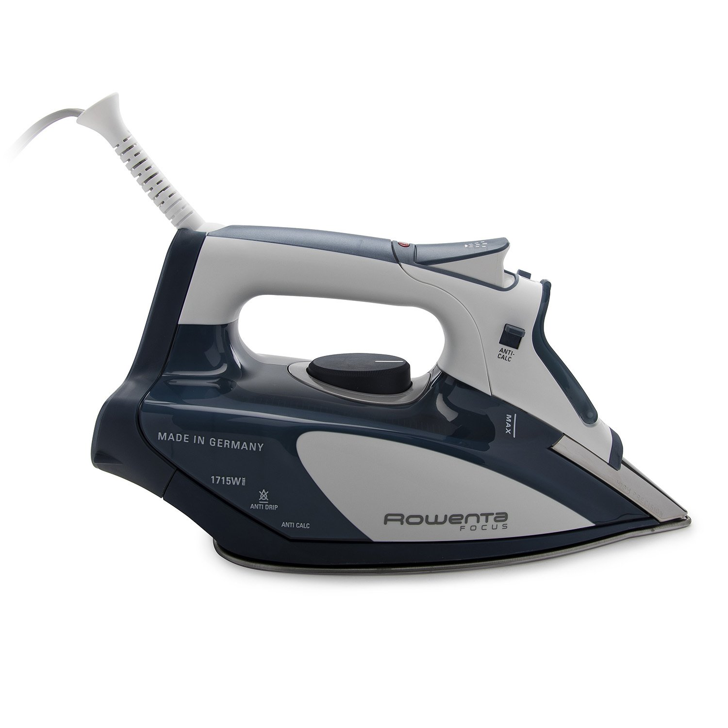 Rowenta DW5184 Focus 1700-Watt Micro Steam Iron with Stainless Steel Soleplate, 400 -Hole, Blue