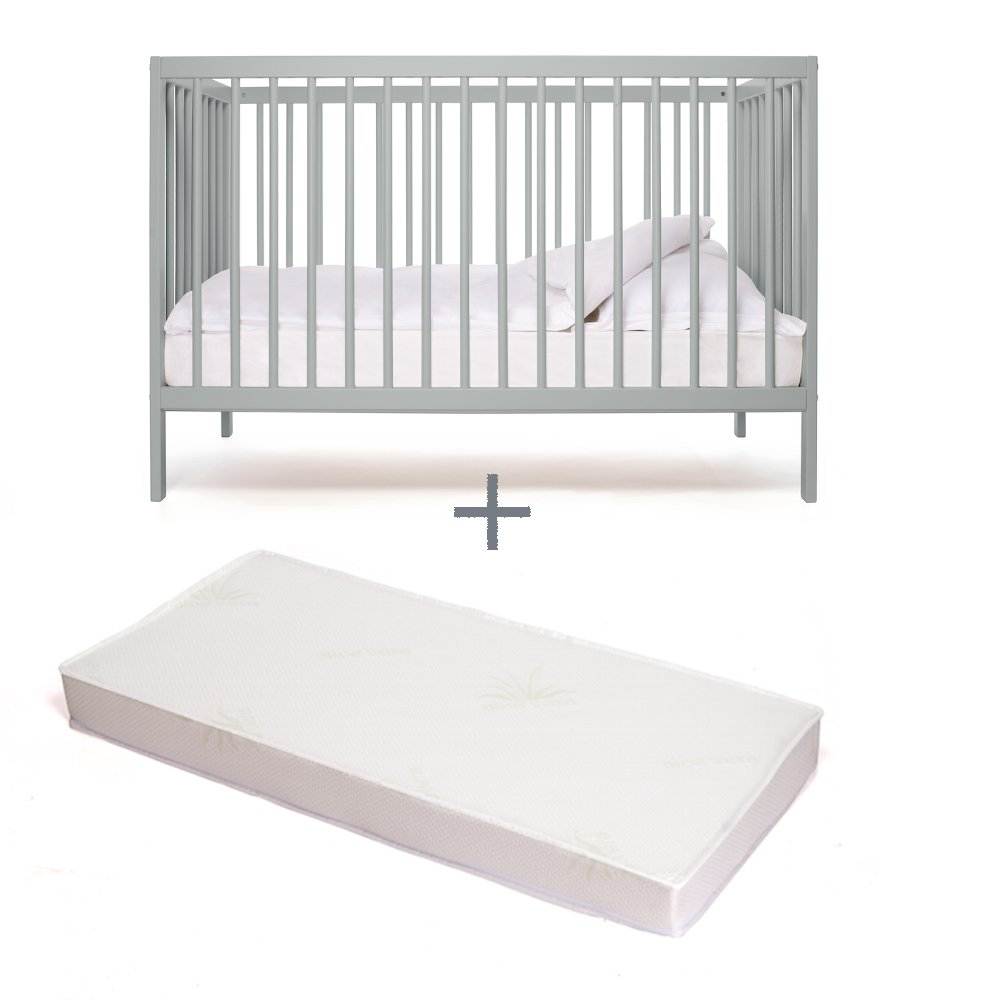 moKee Mini - Eco Friendly 120 x 60 cm Baby Space Saver Cot Bed + Aloe Vera MATTRESS included (Stone Blue) Serraco Ltd