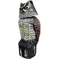 Pumprout Cabeza giratoria Realista búho Repelente de Aves Control de plagas de Aves espantapájaros jardín decoración del…