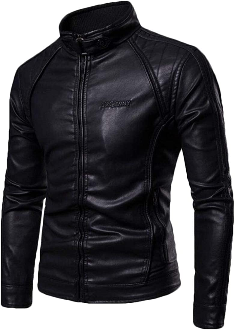 Fllay Mens Casual Moto Biker Stand Collar Faux Pu Leather Jacket Coat