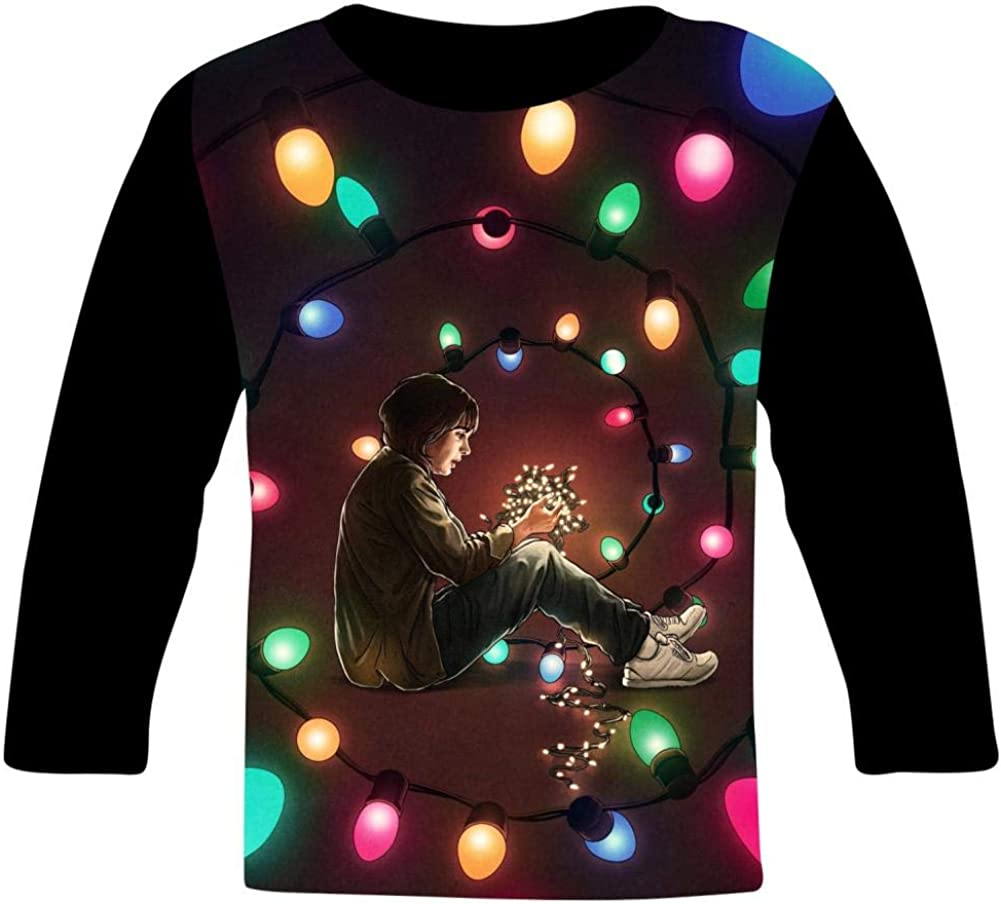 S-tranger-Thing-s Color Lights Kids T-Shirts Long Sleeve Tees Fashion Tops for Boys//Girls