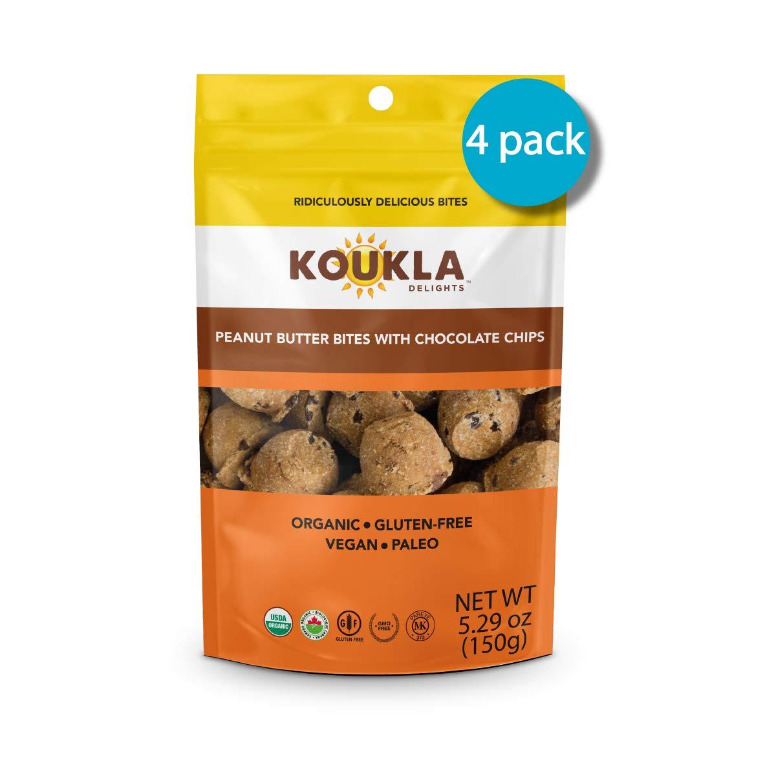Koukla Delights –Chocolate Chip Peanut Butter Bites, Organic, Gluten-Free, Non-GMO, Vegan, Paleo, Kosher Bites 5.29 oz (Pack of 4)