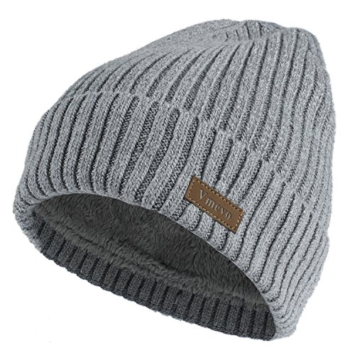 Vmevo Wool Cuffed Plain Beanie Warm Winter Knit Hats Unisex Watch Cap Skull Cap Light Gray