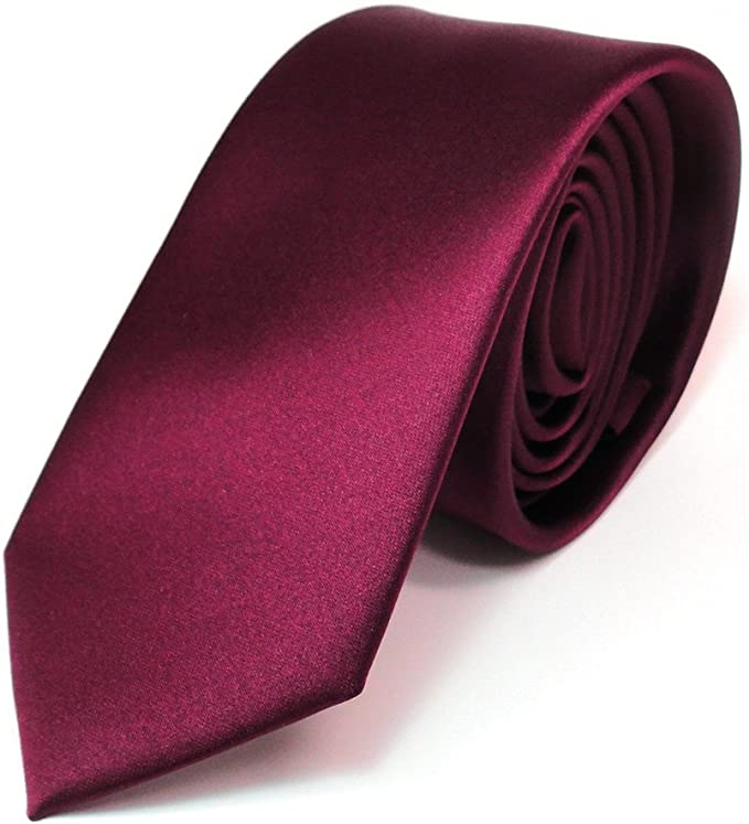 TigerTie - corbata estrecha - rojo burdeos monocromo poliéster ...