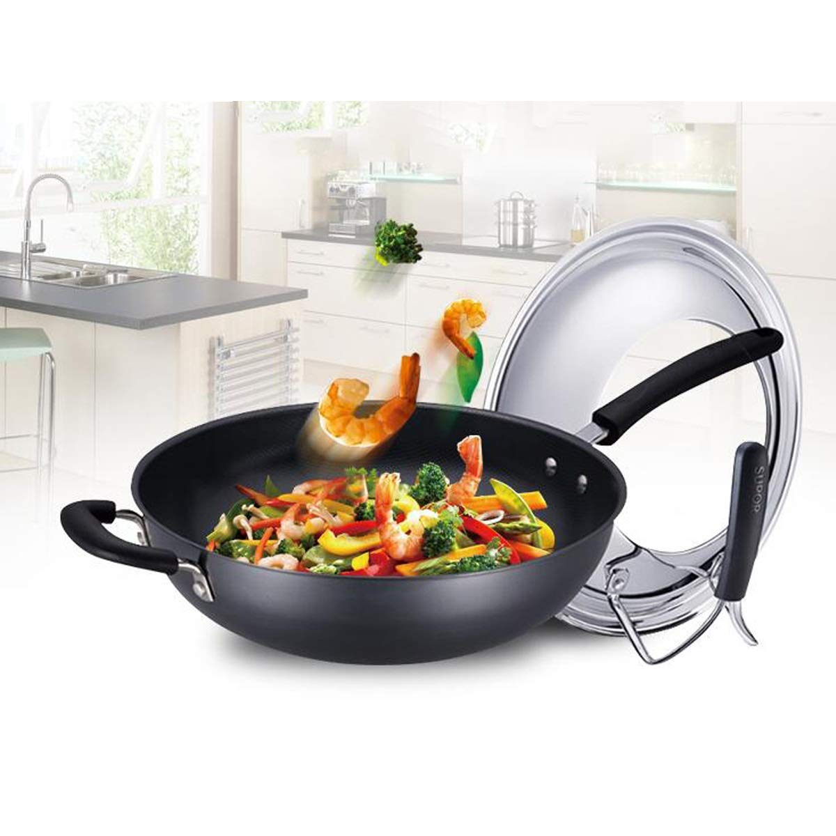 Wok, 32cm Diameter Wok, Really Stainless Uncoated Detachable Lid And Non-standing Lid Healthy Iron Pan, Black (Color : Black-A, Size : A1-32CM) by TONGBOSHI (Image #2)