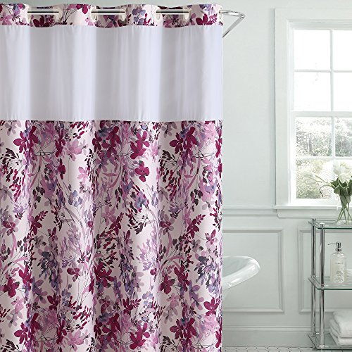 durable service Hookless Water Color Floral Print Shower Curtain with PEVA, Fushia