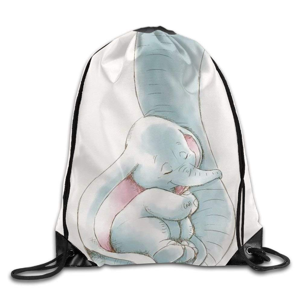 Dumbo Being Held by His Mothers Trunk Drawstring Backpack Travel Bag Gym Outdoor Sports Portable Drawstring Beam Port Backpack for Girl Boys Woman Female