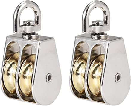 uxcell 2pcs Lifting Crane Swivel Hook Double Pulley Block Hanging Wire Towing Wheel Zinc Alloy