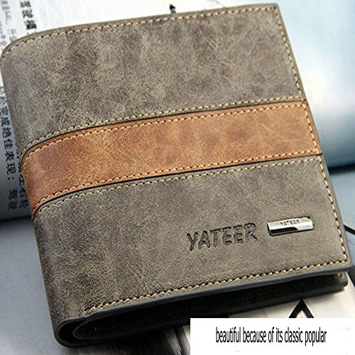 Fashion Bifold Men's Leather Wallet Credit ID Card Multi Pockets Clutch Purse ()