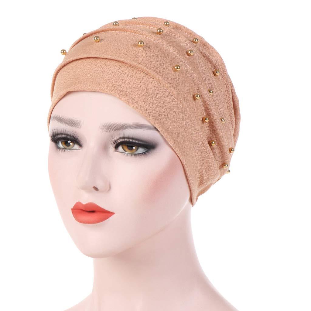 HBSHE Womens Perlen Einfarbiges Kopftuch Luxus Turban Hijab Rüschen Muslim Chemo Cap