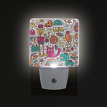 WIHVE Alien Doodle 2 Pack 0.5W Plug-in LED Night Light Lamp with Dusk