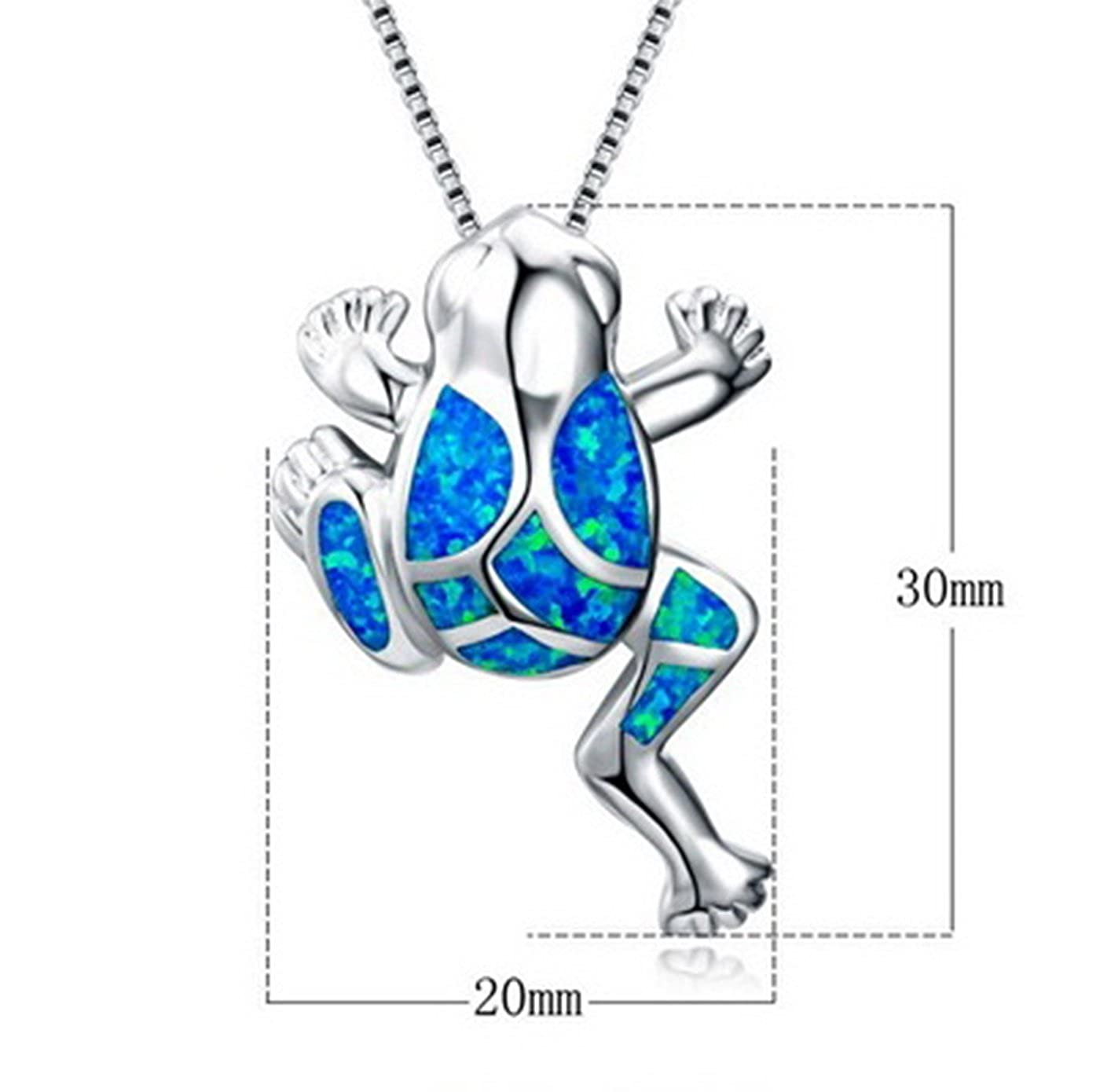 Fortonatori Created Blue Opal Frog Necklace 925 Silver Pendant Necklace 18 Chain