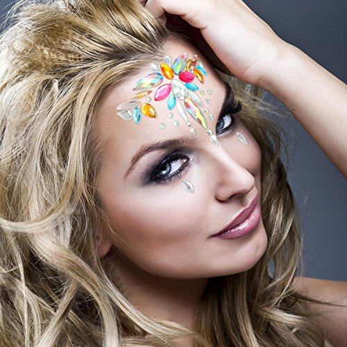 8 Packs Festival Face Jewels Rhinestones Gems Face Crystals Tattoo Jewelry for Forehead Body Decorations Party Supplies, Makeup Rhinestone Face Jewels Stickers, Women Mermaid Face Gems Glitter by Imagination Park (Image #4)