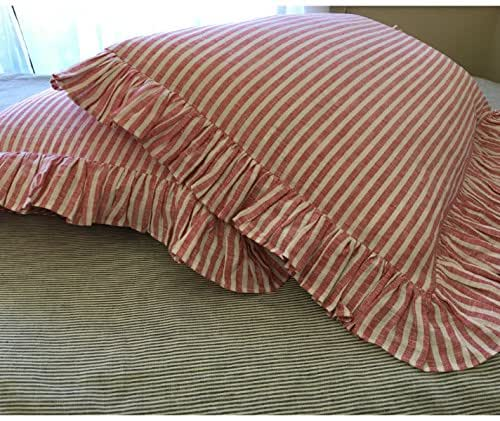 Amazon Com Red And White Ticking Strip Ruffle Duvet Cover