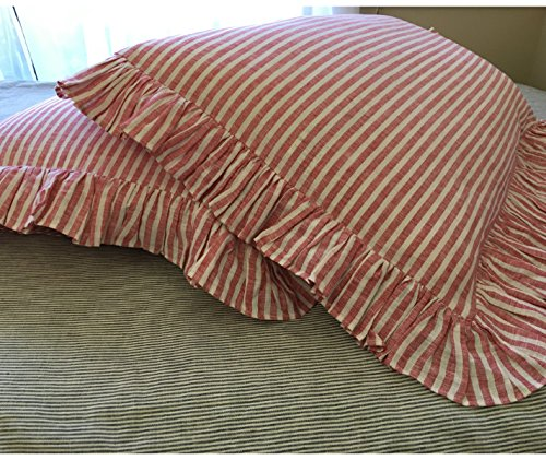 Red and White Ticking Strip Ruffle Duvet Cover, Red and White Ticking Stripe Bedding, Ruffle Bedding, Shabby Chic Bedding, Luxury Bedding Collections, FREE SHIPPING