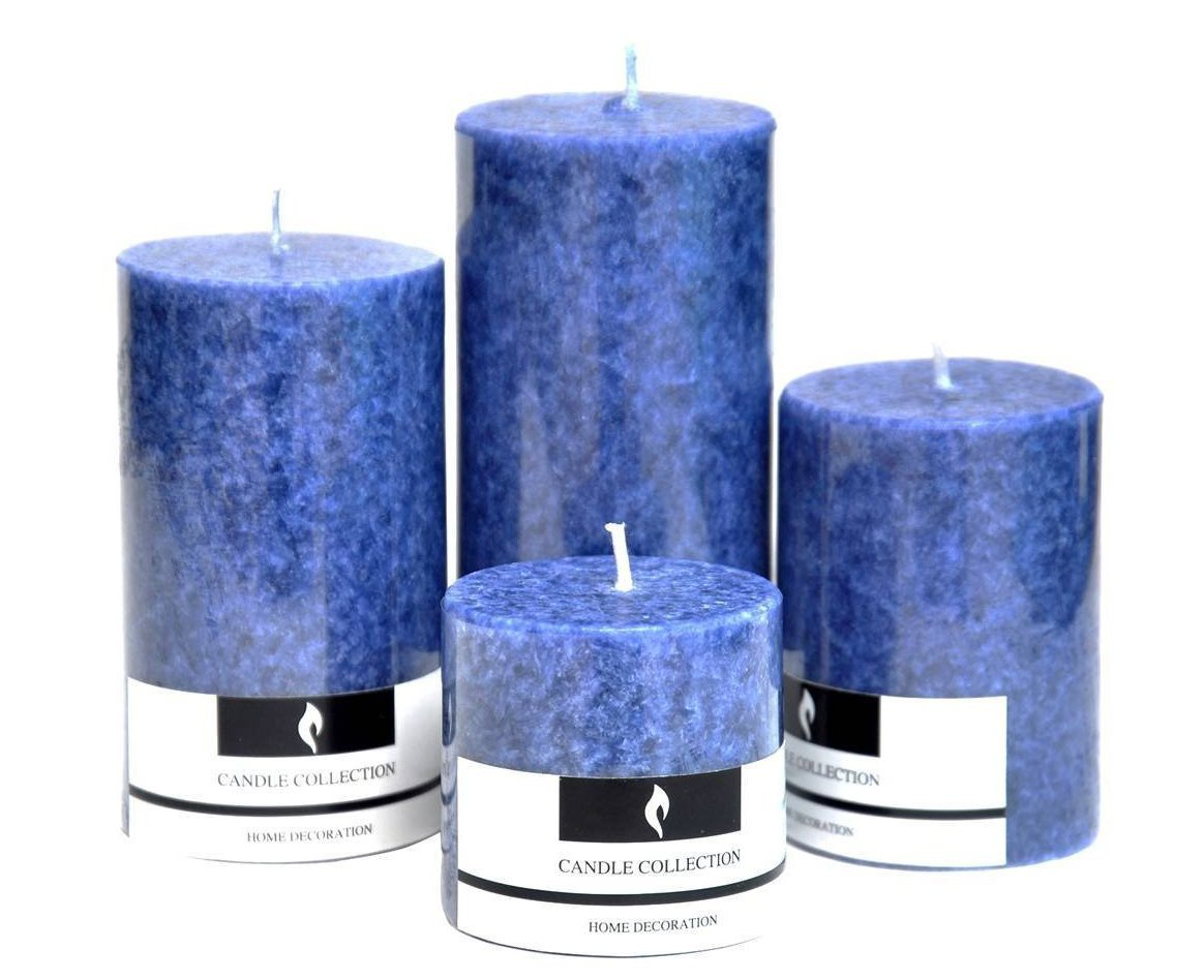 Marigold Stores Decorative Aromatic Sea Breeze Scented Candles Pillar Candles Size 4.5''X2'', 3.5''X2'', 3''X 2'' and 2''X2''. - Set of 4