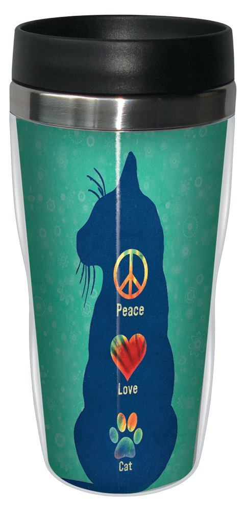 Tree-Free Greetings 78182 Angi and Silas Peace Love Cat Sip 'N Go Stainless Lined Travel Mug, 16-Ounce