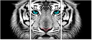 Visual Art Decor Black and White Tiger with Teal Blue Eyes Picture Wildlife Animals Canvas Prints Wall Art for Home Office Bedroom Decoration Ready to Hang