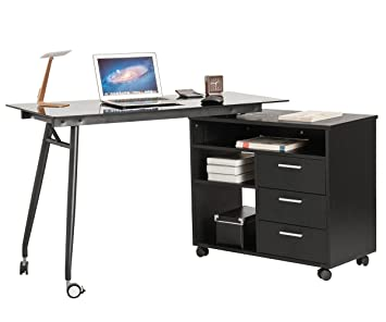 Amazon.com : ProHT L Shaped Office Computer Swivel Desk With Drawers And  Wheels. Corner Writing Desk/PC/Laptop/Table/Workstation Black Glass  Portable Desk ...