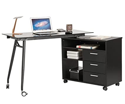 ProHT L Shaped Office Computer Swivel Desk With Drawers And Wheels. Corner  Writing Desk