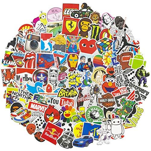 Brand Cartoon Laptop Stickers 100 Pcs Pack Cool Teen Vinyl Waterproof Sticker Skateboard Pad MacBook Car Snowboard Bicycle Luggage Decal