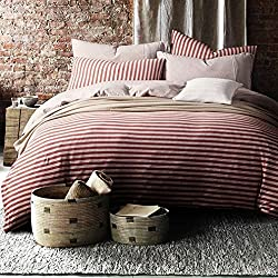 SAYM Home Textile Pinstripe Pattern Cotton Duvet Covet Set,100% Slub Cotton, Premium Hotel Quality,Queen Size,4 Pcs