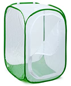 "RESTCLOUD 36"" Large Monarch Butterfly Habitat, Giant Collapsible Insect Mesh Cage Terrarium Pop-up 24 x 24 x 36 Inches"