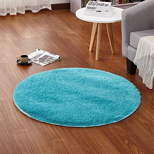 LOCHAS 4-Feet Round Area Rugs Super Soft Living Room Bedroom Home Shag Carpet (Blue)