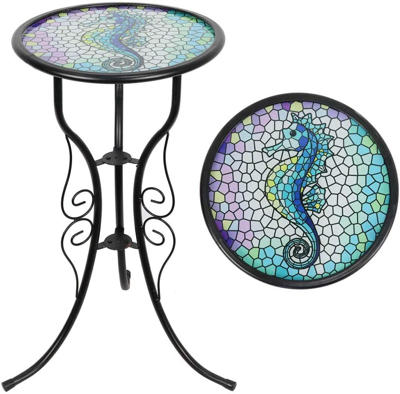 Liffy Outdoor Mosaic Side Table Seahorse Bench Small Patio Round Printed Glass Table for Garden, Yard or Lawn