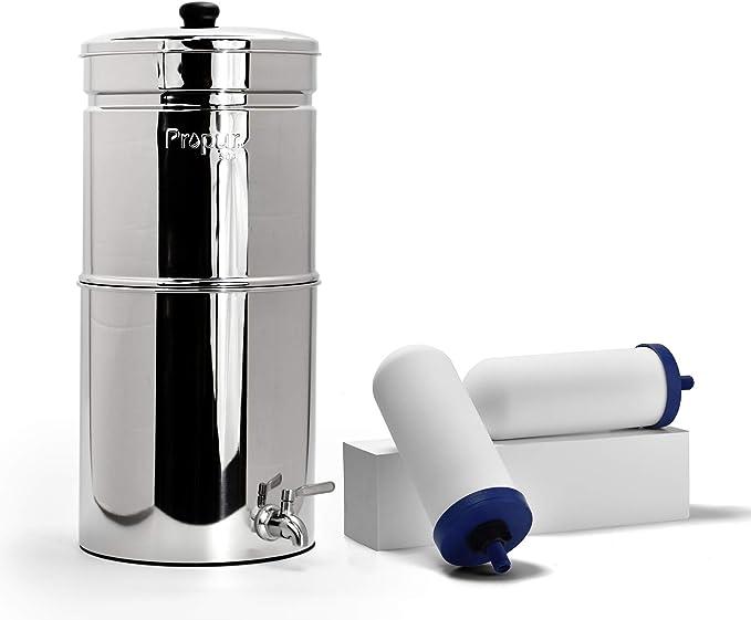 Purificador de agua de acero inoxidable de ProPur, viene con 2 filtros ProOne G 2.0 de 17,8 cm, elimina químicos y ...