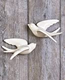 Ceramic White Set of 2 Large Hanging Swallow For Sale